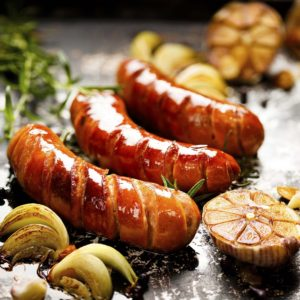 Image of Grilled sausage with garlic and onions