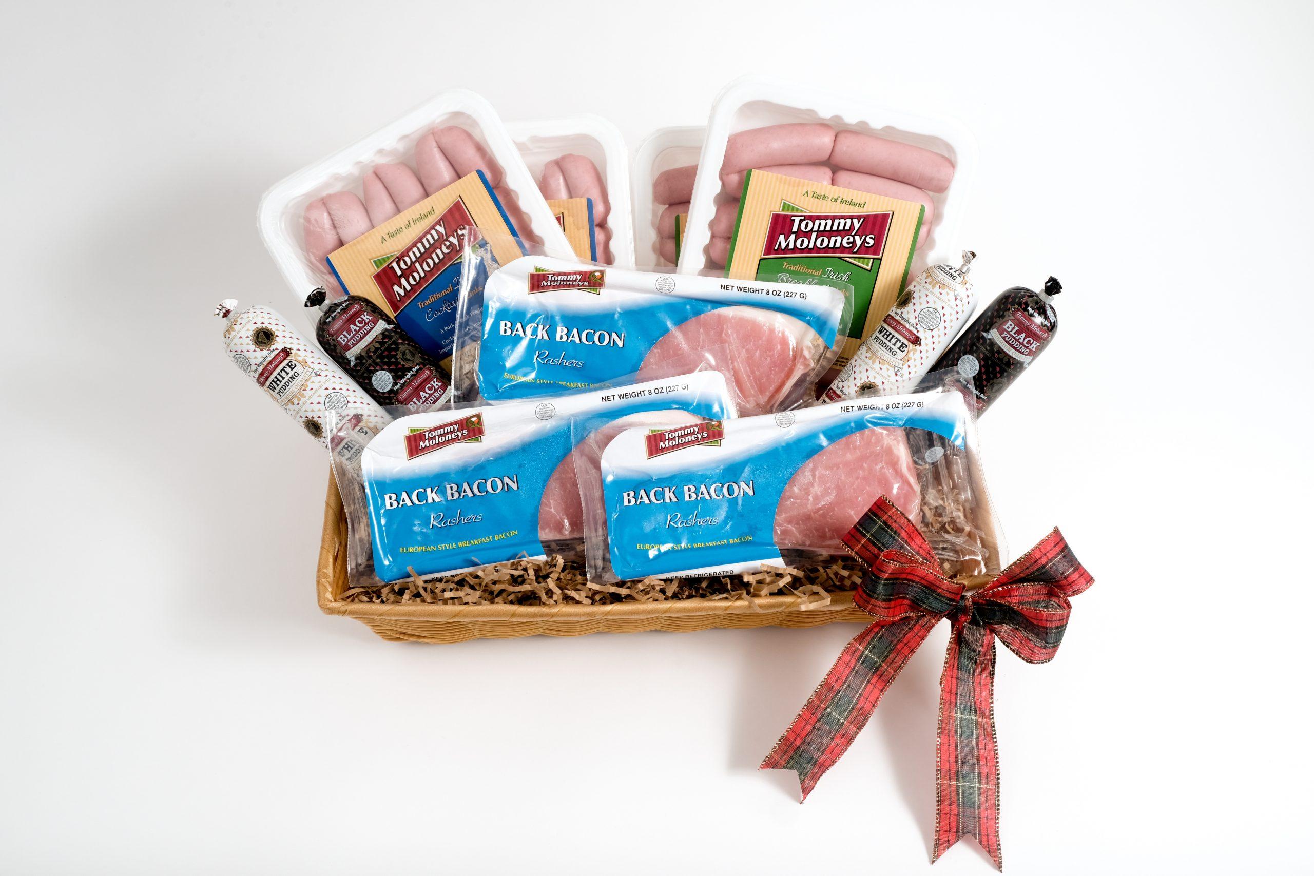 Breakfast meat gift basket.